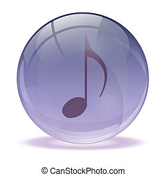 3D glass sphere and music icon