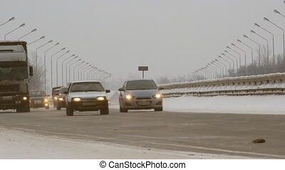 Cars on winter road