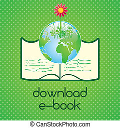 Download ebook, (read about...).On green background. Vector...