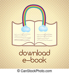 Download ebook, (read about...).On retro background. Vector...