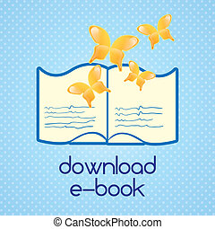 Download ebook, (read about...).On blue background. Vector...