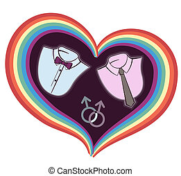 gay love card with symbol heart isolated on white - gay love...