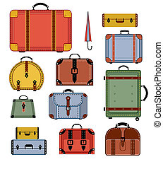 Retro travel bags - Travel bags in various colors on a white...