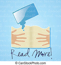 Download ebook - Read More!, icon for download ebook.On blue...