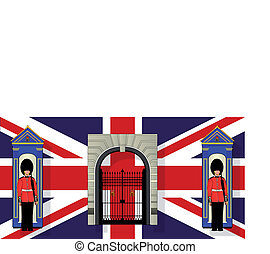 London Icons - Two coldstream guards on duty by their sentry...