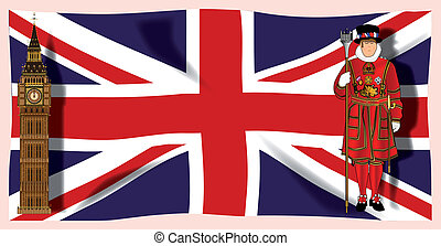 London England - The British Union Jack flag with Big Ben...