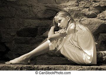 Sad teenager girl