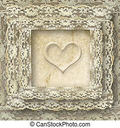 vintage lace card one heart - one heart lace frame...