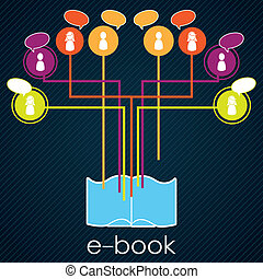 Download ebook - Download a book social share, colorful...