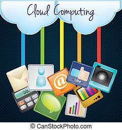 Cloud Computing upload with apps, illustration. On dark...