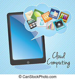 Cloud Computing apps, on blue background.Vector illustration