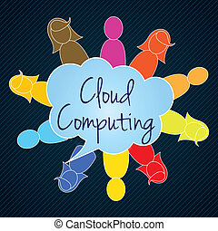 Cloud Computing teamwork colorful people Vector illustration...