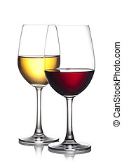 Glass of red and white wine isolated on a white background...