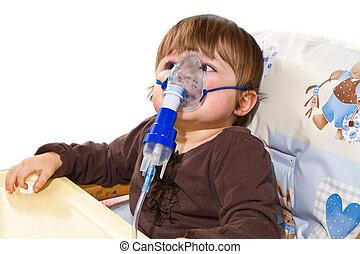 criança, Levando, respiratório, inhalation,...