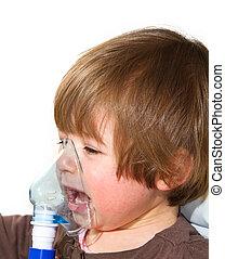 criança, Levando, respiratório, inhalation, terapia