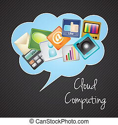 Cloud Computing - Cloud computing with icons apps (colorful...