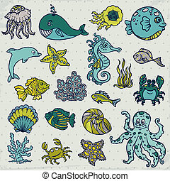 Summer Sea Life creatures - star, fish, shell, crab - for...