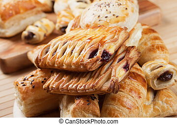 Puff pastry with jam filling - Puff pastry with sweet cream...