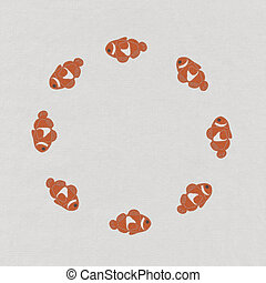 Fish leader on white background with stitch style, unique and diffrent business concept