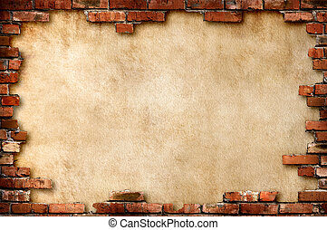 Brick wall grungy frame - Grungy parchment paper background...