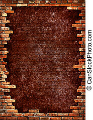 Brick wall grungy frame - Grunge dark red concrete wall in a...