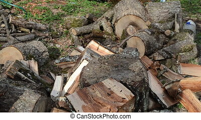 gloves chop firewood - hands with gloves chopping firewood...