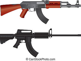 Assault Rifles Illustration - Assault Rifles AR 15 and AK 47...