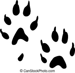 Ferret paws print - Two black ferret's paw prints on a white...