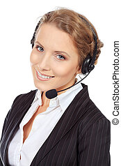 consultant - Portrait of a happy smiling support phone...