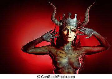 hell temptation - Beautiful and scary devil woman. Art...