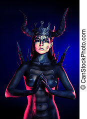 horny crown - Beautiful and scary devil woman. Art project.