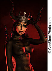 hot fire - Beautiful and scary devil woman. Art project.