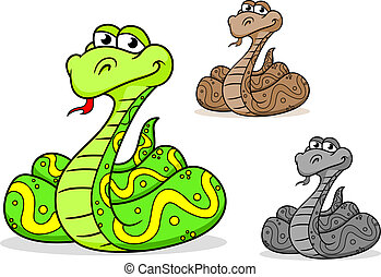 Cartoon python snake in three variations isolated on white...