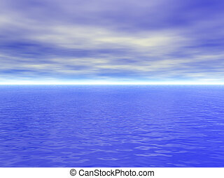 Ocean water with waves and cloudy blue sky - high quality 3D render