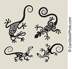 Lizard symbol ornament set - Four reptiles with black floral...