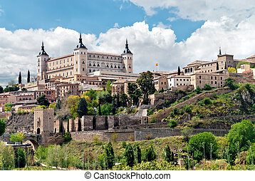 Old town of Toledo, with alcasar on a hilltop, former...