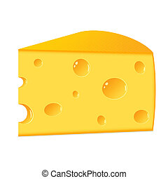 A piece of cheese on a white backgr