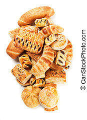 Puff pastry isolated on white - Croissants and other puff...