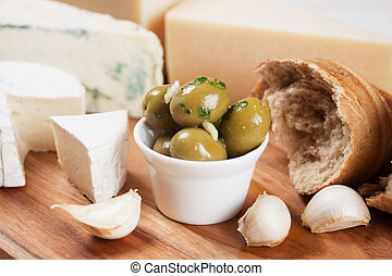 Pickled green olives