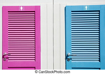 restroom - Colored restrooms\\\' doors. You can easily...