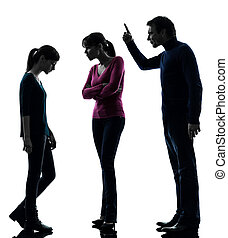 family father mother daughte dispute reproach silhouette -...