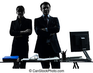 busy smiling business woman man couple silhouette