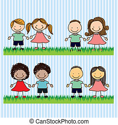 Kids Team - Illustration of kids team or couples, in cartoon...