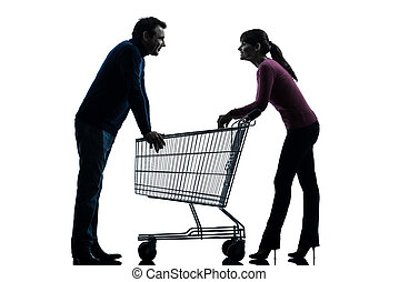 couple woman man with shopping cart dating flirting...