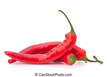 Hot red chili or chilli pepper isolated on white background...