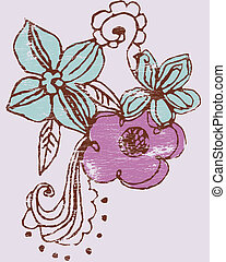 freehand flowers - vectors or illustrations with multiple...