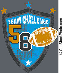 Grunge football team shield - Grunge style illustration of...
