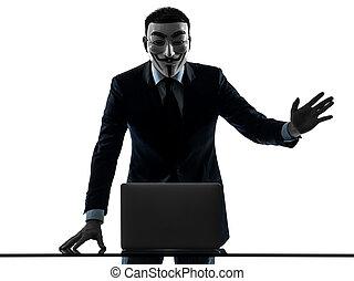 homme, masqué, anonyme, groupe, membre, calculer,...