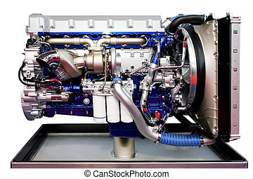 Trucks engine blue - Big turbo truck engine in blue isolated...