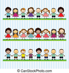 Kids Team - Illustration of kids team, in cartoon style and...